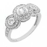 0.82 CTS 3 STONE ROUND CUT DIAMOND HALO ENGAGEMENT RING SET IN 14K WHITE GOLD