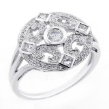 0.59 CTS DIAMOND COCKTAIL RING SET IN 14K WHITE GOLD