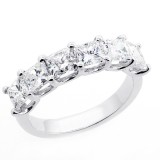 2.95 Cts Princess Cut Diamond Wedding Bend set in 14K white gold