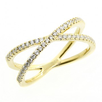 0.28 CTS ROUND CUT DIAMOND FANCY RING SET IN 14K YELLOW GOLD