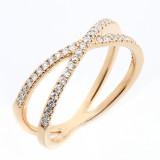 0.28 CTS ROUND CUT DIAMOND FANCY RING SET IN 14K ROSE GOLD