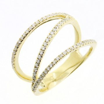 0.34 CTS DIAMOND FANCY RING SET IN 14K YELLOW GOLD