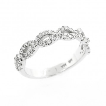 0.43 Cts Round Cut diamond Wedding Band set in 14K White Gold
