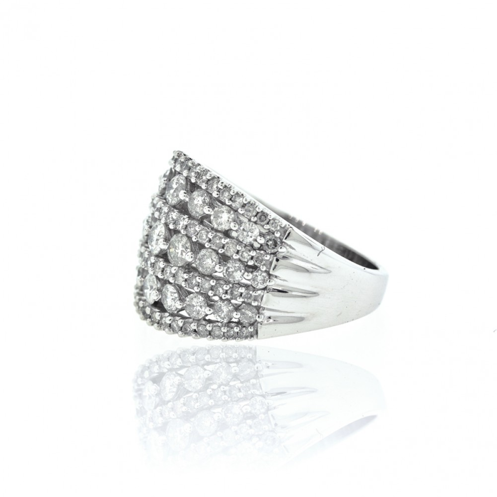 7 Row Wide Diamond Right Hand Ring