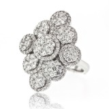 Multi Section Flower Cluster Diamond Ring