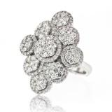Multi Section Flower Cluster Diamond Ring