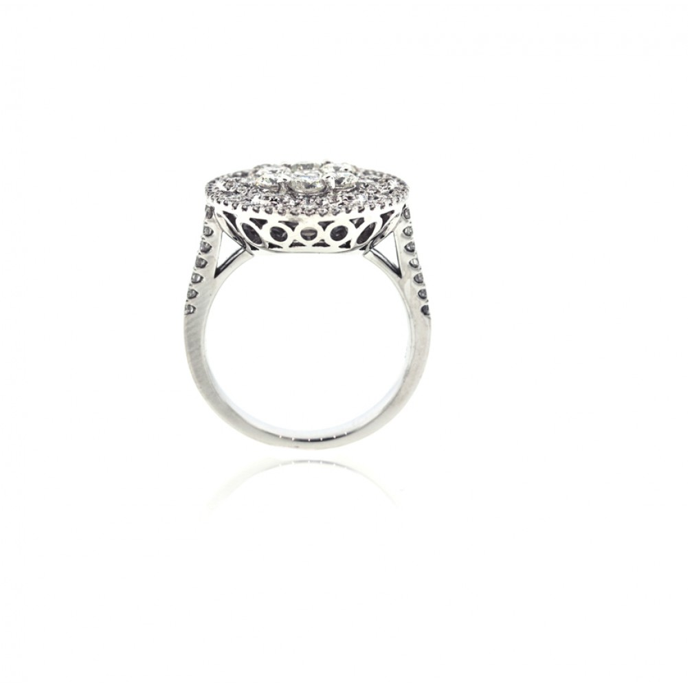 Invisible Set Flower Cluster Diamond Ring