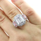 13.13ctw Emerald Cut Diamond Halo PLATINUM Ring