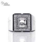0.54 Cts Round Cut Diamond Men's Ring Set in 14K White Gold