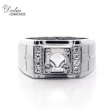 0.26 Cts Round Cut Diamond Men's Ring Setting Set in 14K White Gold