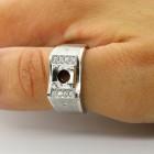0.26 Cts Round Cut Diamond Men's Ring Setting Set in 14K White Gold