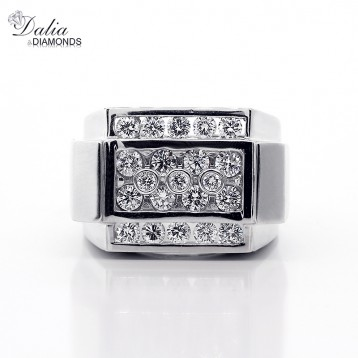 1.57 Cts Round Cut Diamond Men's Ring Set in 14K White Gold
