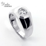 1.00 Ct Round Cut Diamond Men's Ring set in 14K White Gold