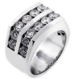 5 Cts Two Row Mens Diamond Ring