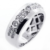0.73 Cts Diamond mens Ring set in 14K White Gold