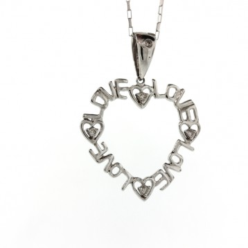 0.11 Outlined Love Diamond Heart Pendant