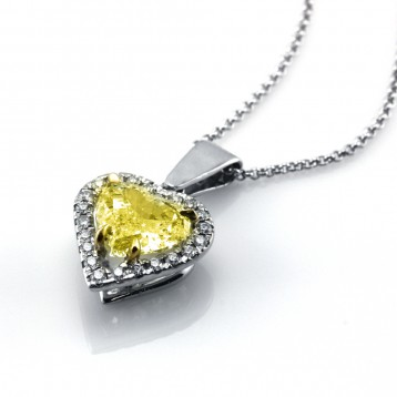 2.17 Ct  Fancy Yellow Heart  Diamond Pendant ,18K White Gold