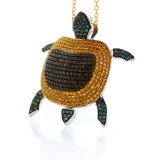 1.87 Cts. Yellow Black and Green Diamond Turtle  14K White Gold