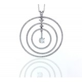 1.24Cts Triple Circle with a Solitaire Drop Diamond Pendant
