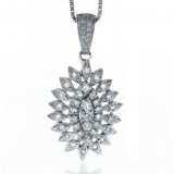 1.00 Cts. 14K White Gold Triple Layered Oval Diamond Flower Pendant