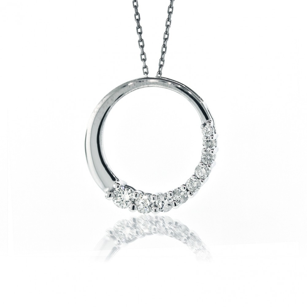 050 cts 14k white gold circle of love half way diamond pendant 050 cts 14k white gold circle of love half way diamond pendant aloadofball Choice Image