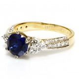 2.00 Ct Round Sapphire Diamond Ring, 14Kt Yellow Gold