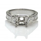 1.92 Cts. Three Stone Princess Cut Diamond Engagement Ring