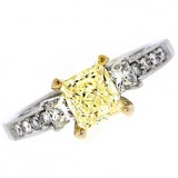 1.01CT Fancy Yellow Princess Cut Diamond Engagement Ring