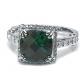4.25 Cts. 18K White Gold Cushion Cut Emerald Diamond Ring