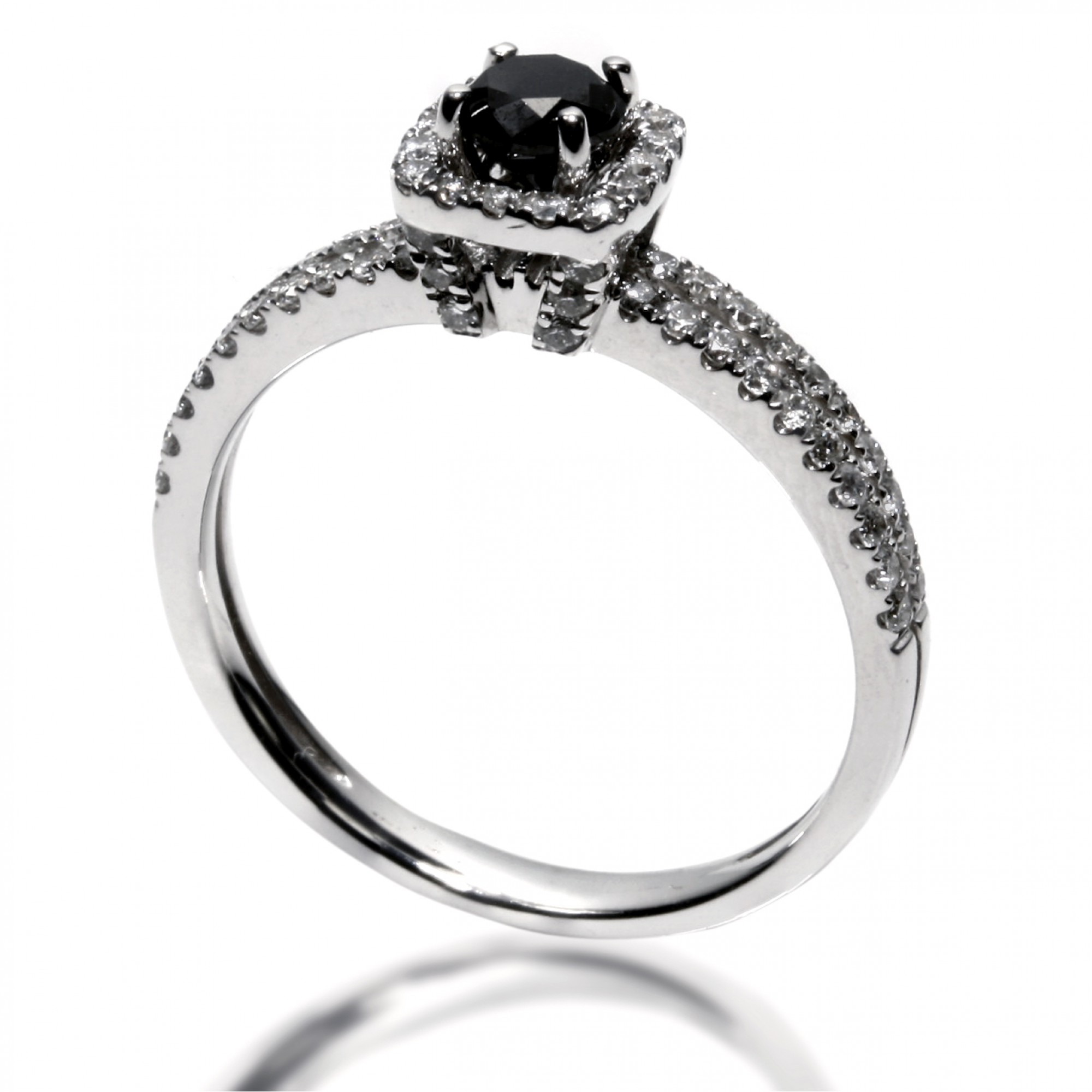 0 88 Cts 18k White Gold Black Diamond Engagement Ring Cheap Diamond Engagement Rings Buy Cheap Diamond Jewelry Diamond Engagement Rings Buy Engaged Rings Online Fine Jewelry Best Rings Engaged Ring Diamonds Forever Diamonds For
