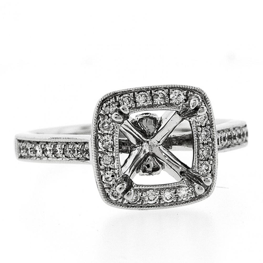 Diamond Halo Frame Engagement Ring Setting, pave set,Cheap Diamond ...