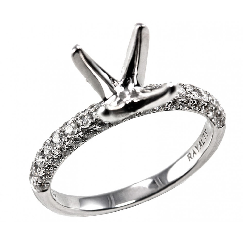 4 prong cathedral micro pave diamond engagement ring setting - Cheap Diamond Wedding Rings