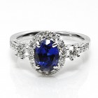 2.50 Cts. 14K White Gold Oval Cut Sapphire Diamond Ring