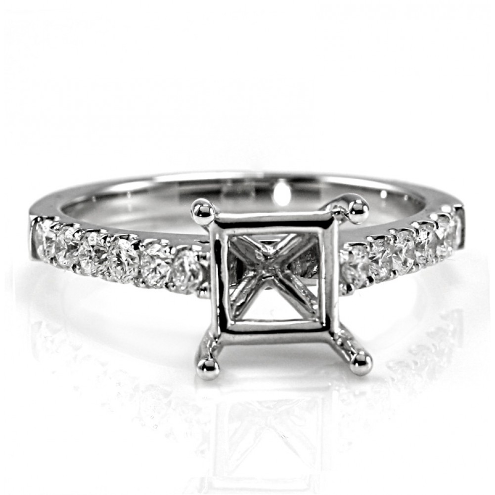 Single Row Pave Cathedral Diamond Engagement Ring