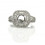 0.79 Cts. Double Halo Split Shank Diamond Engagement Ring