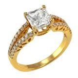 1.90CT Princess Cut Diamond with Split Shank Pave Engagement Ring