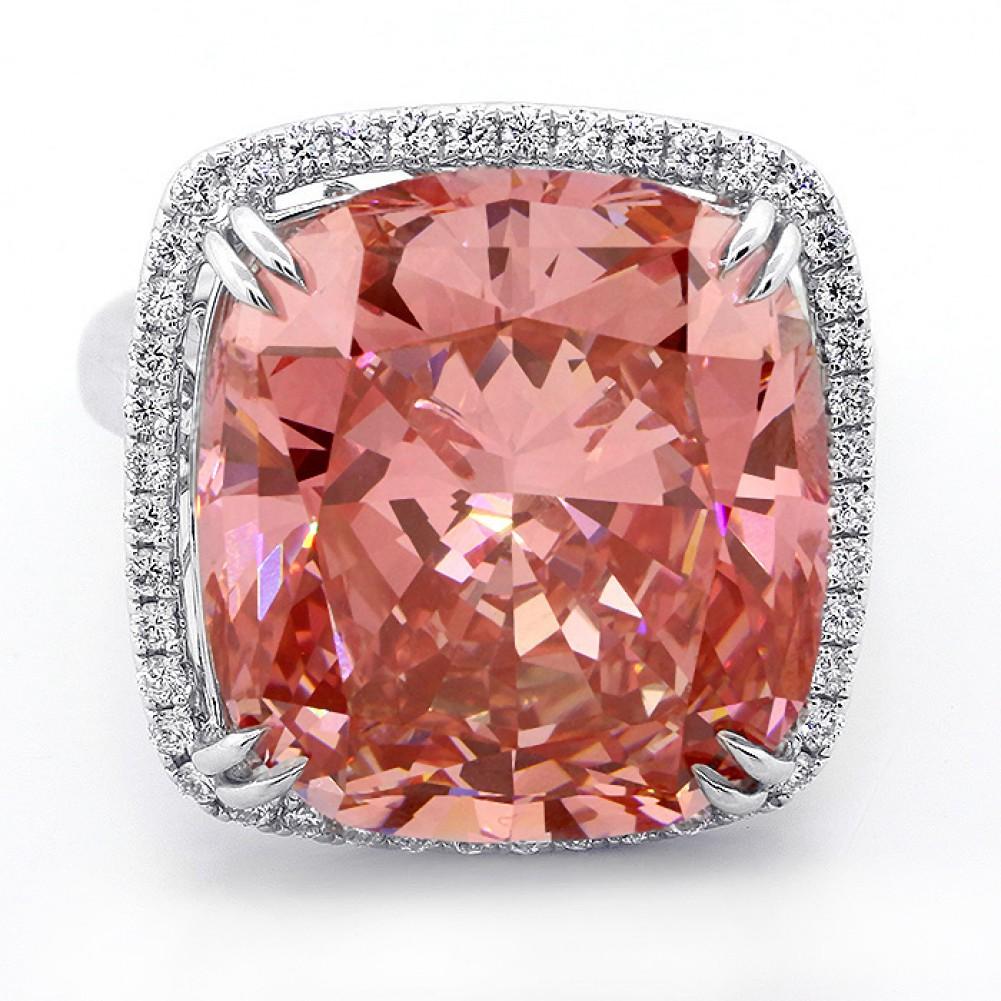 18.92ctw Fancy Cushion Cut Diamond Halo Ring 18K White Gold,Cheap ...