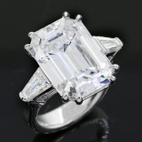 12.37cttw Emerald Cut Diamond Ring 18K White Gold