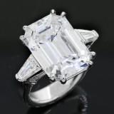 12.37cttw Emerald Cut Diamond Ring 18K White Gold