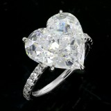 7.36cttw Heart Shaped DIamond Engagement Ring 18K White gold.