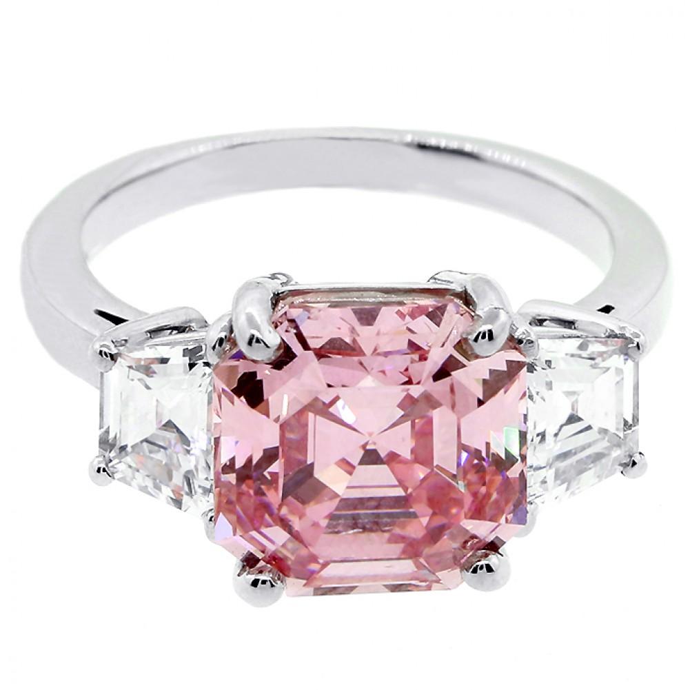 5.68ctw Asscher/Trillion Cut Diamond Ring PLATINUM,Cheap Diamond ...