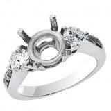 0.95 Cts. 18K White Gold Three Stone Diamond Engagement Ring Setting