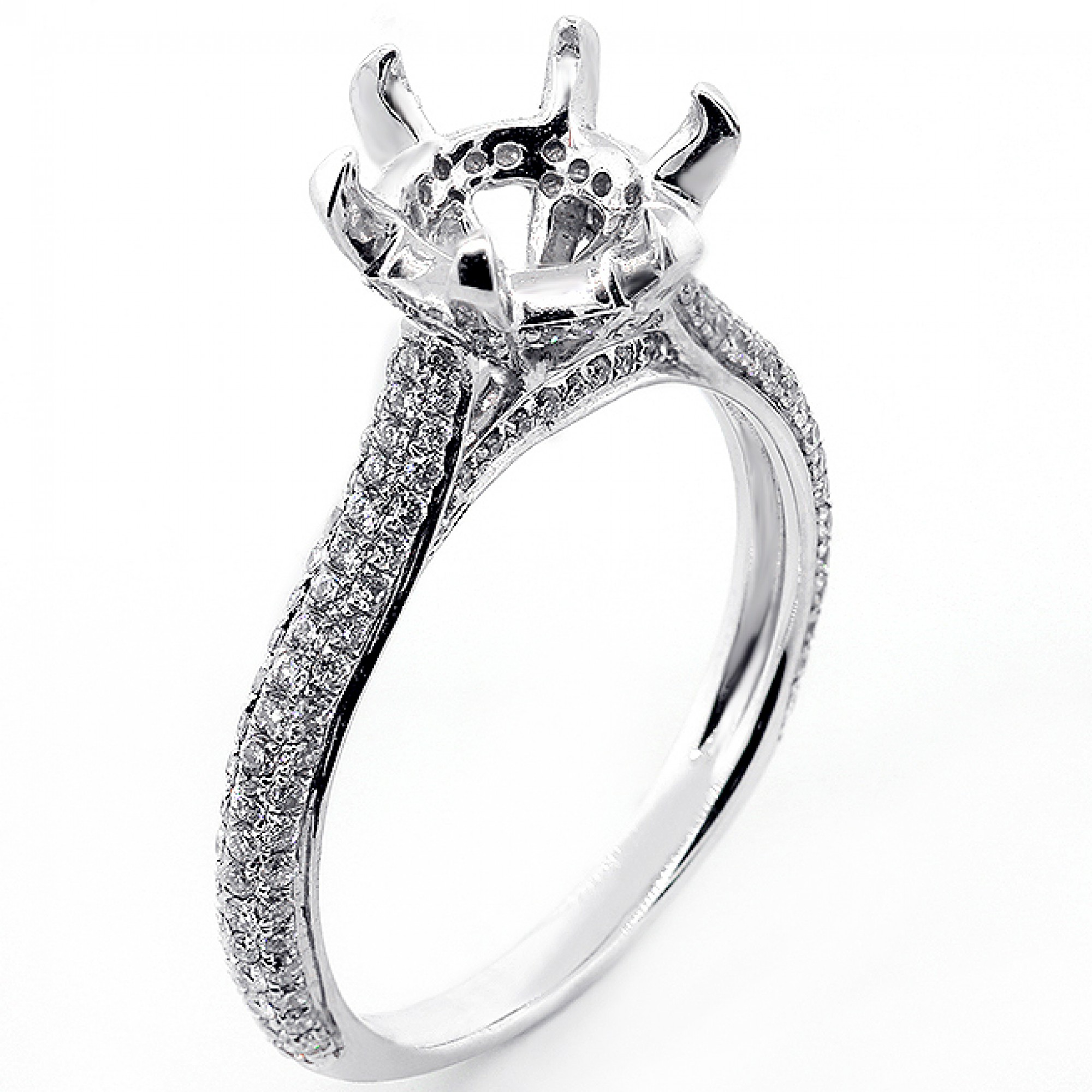 0 52 Cts Six Prong Diamond Engagement Ring Setting Set In 18k Whoite