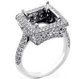 Halo Engagement Ring Setting with total of 1.01 cts set in platinum