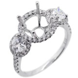 Halo Engagment Ring Setting with total of 1.30 cts,18KT