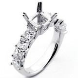 2.01 Cts Princess Cut Diamond Engagement Ring Setting set in 18K White Gold