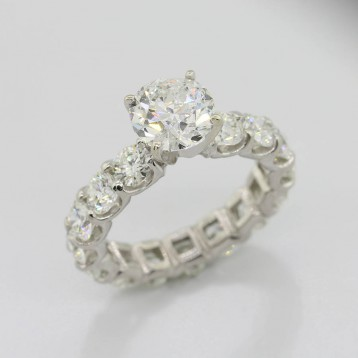 6.02 Cts Round Cut Eternity Diamond Engagement Ring Platinum
