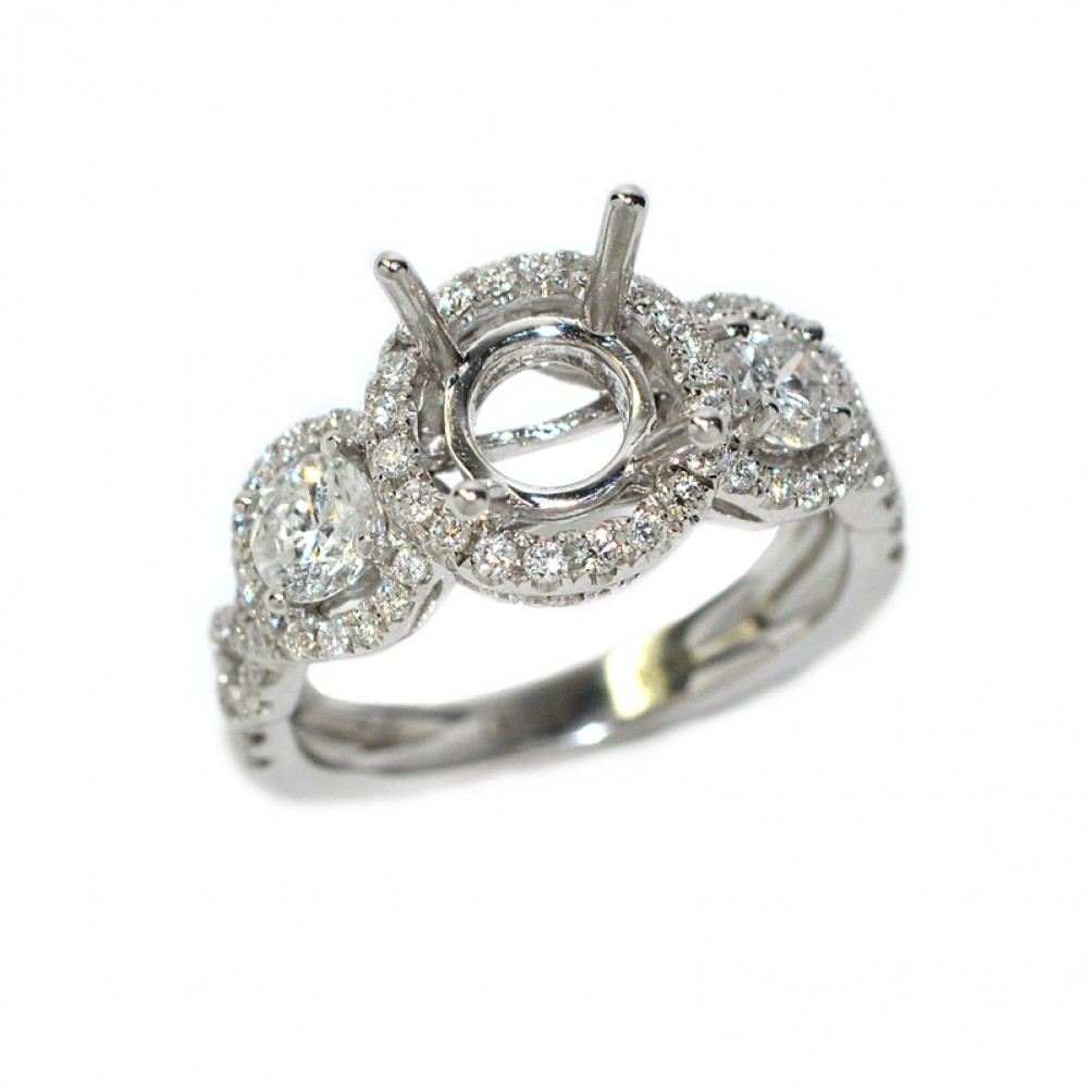 3 stone round halo diamond engagement ring setting - Wedding Rings For Women Cheap