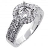 Halo Engagment Ring Setting with total of.82 cts,18KT