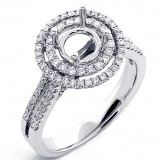 0.82 Cts Halo Engagement Ring Setting set in 18K White Gold
